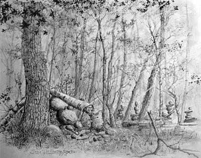 Drawing - Many Balanced Rosks by Jim Hubbard