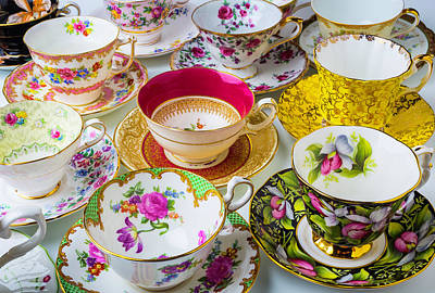 Many Beautiful Tea Cups Print by Garry Gay