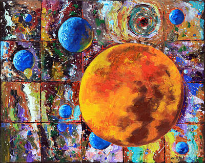 Painting - Many Blue Planets by John Lautermilch
