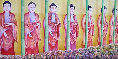 Many Budhas Art Print by Hiske Tas Bain