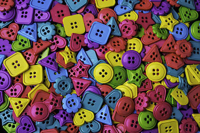 Photograph - Many Colorful Buttons by Garry Gay