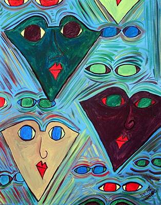 Many Faces Blue Art Print by Margie  Byrne
