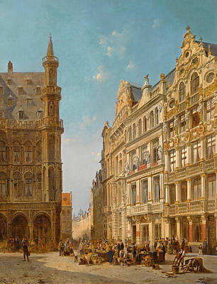 Painting - Many Figures At An Auction On The Grande Place In Brussels by Jacques Carabain