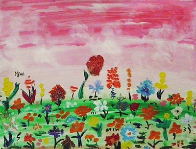 Painting - Many Flowers Under Pink Sky by Mary Carol Williams