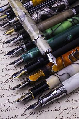 Many Fountain Pens Art Print by Garry Gay