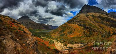 Bullheaded Photograph - Many Glacier Fall Foliage Spectacular by Adam Jewell