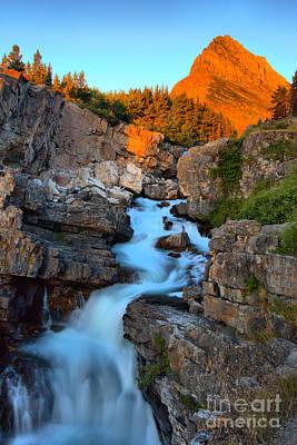 Photograph - Many Glacier Falls Morning Glow by Adam Jewell