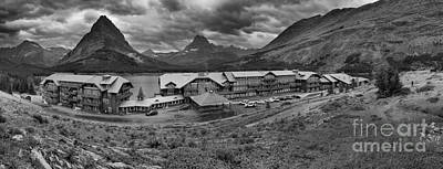 Photograph - Many Glacier Lodge Black And White Panorama by Adam Jewell