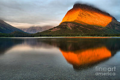 Photograph - Many Glacier Orange Stripe Morning by Adam Jewell