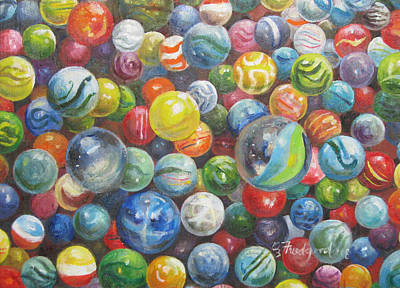 Art Print featuring the painting Many Marbles by Oz Freedgood