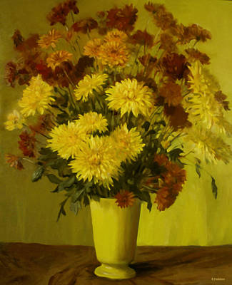 Painting - Many Mixed Mums In Yellow Porcelain Vase by Robert Holden