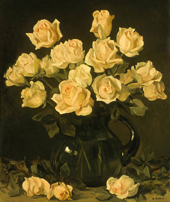 Painting - Many Yellow Roses In A Green Water Pitcher by Robert Holden