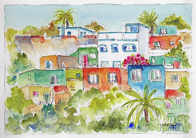 Blue And Red Painting - Manzanillo Hillside by Pat Katz