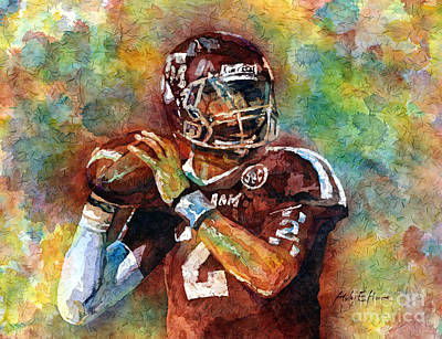Football Paintings - Manziel by Hailey E Herrera