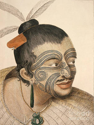 Maori Wall Art - Painting - Maori Chief 1784 by Celestial Images