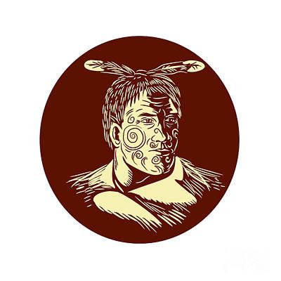 Maori Chieftain Head Oval Woodcut Art Print