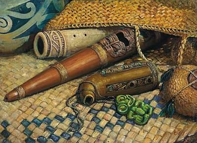 Maori Painting - Maori Flutes by Peter Jean Caley