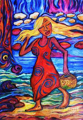 Painting - Maori Girl Mirage At The Beach by Dianne  Connolly