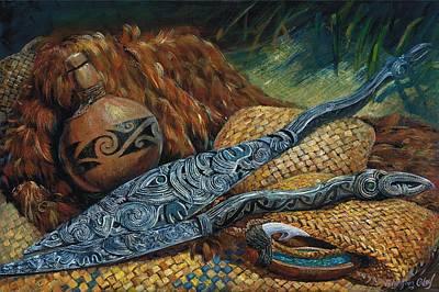 Painting - Maori Oars by Peter Jean Caley