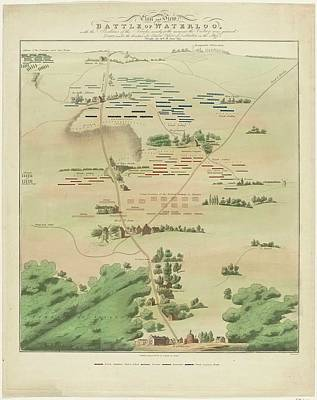The Battle Of Waterloo Painting - Map And View Of The Battle Of Waterloo by MotionAge Designs