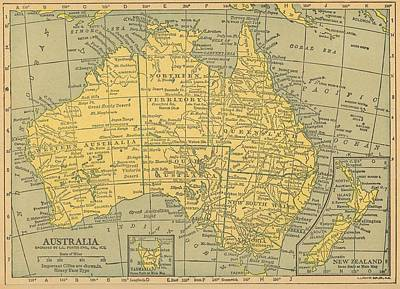 Print featuring the drawing Map Australia by Digital Art Cafe