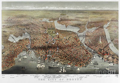 Charles River Photograph - Map: Boston, C1873 by Granger