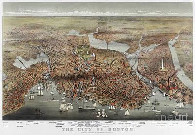 Photograph - Map: Boston, C1873 by Granger