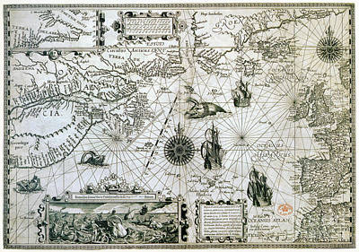 Drawing - Map, Canada, C1594.  by Granger