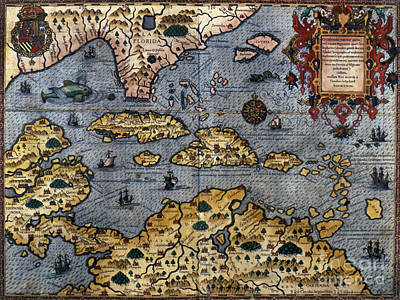 Map: Caribbean, C1591 Art Print
