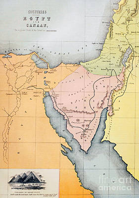 Old Jewish Area Drawing - Map Depicting The Countries Between Egypt And Canaan by English School