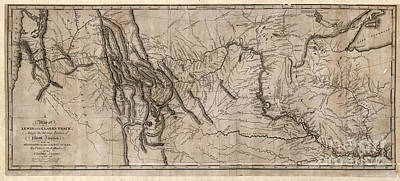 Drawing - Map, Lewis And Clark, 1814.  by Granger