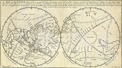 Map Marking Transit Of Venus, 1770 Art Print