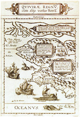 Drawing - Map, North America, 1593.  by Granger