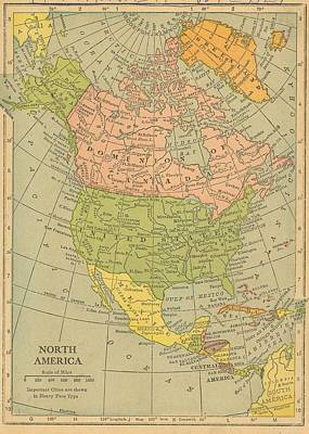 Print featuring the drawing Map North America 1909 by Digital Art Cafe