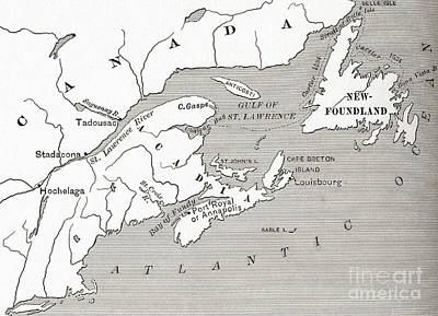 Colony Drawing - Map Of Acadia, 17th Century Colony Of New France In Canada by American School