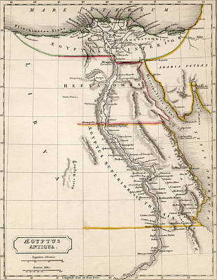 Northern Africa Drawing - Map Of Aegyptus Antiqua by Sydney Hall