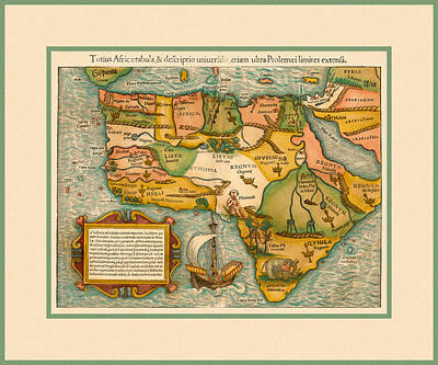 Photograph - Map Of Africa 1554 by Andrew Fare