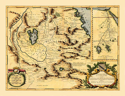 Animal Watercolors Juan Bosco - Map Of Africa 1690 by Andrew Fare