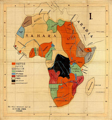 Map Of Africa 1908 Art Print by Andrew Fare