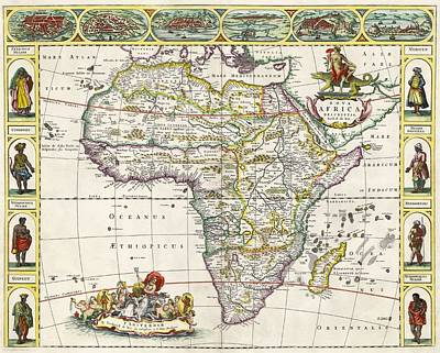 African Continent Drawing - Map Of Africa In The 17th Century. Nova by Vintage Design Pics