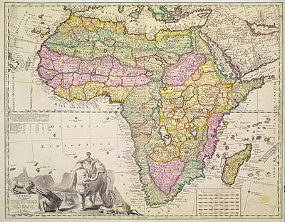 Hand Engraving Drawing - Map Of Africa by Pieter Schenk