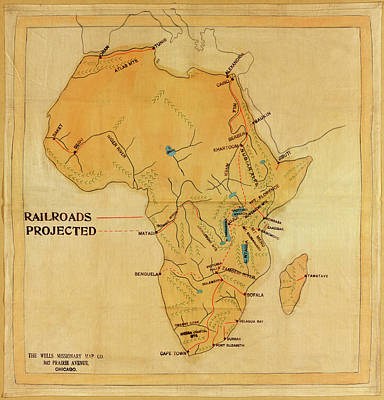Photograph - Map Of Africa Railways 1908 by Andrew Fare