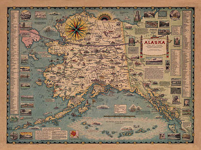 Vintage Map Photograph - Map Of Alaska 1958 by Andrew Fare