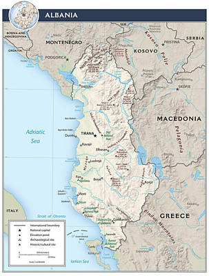 Continent Mixed Media - Map Of Albania by Roy Pedersen