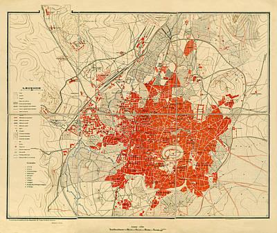 Aleppo Photograph - Map Of Aleppo 1929 by Andrew Fare