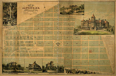 Photograph - Map Of Altadena 1887 by Andrew Fare