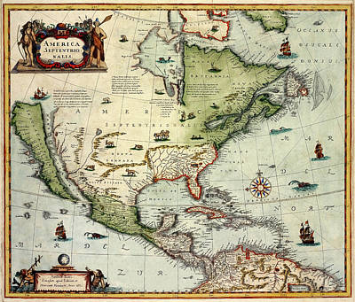 Photograph - Map Of America 1610 by Andrew Fare