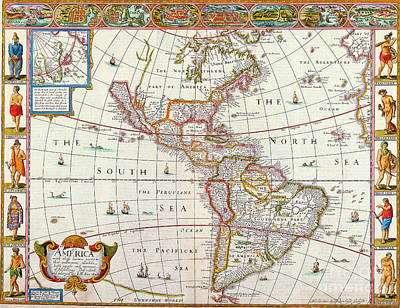 Painting - Map Of America 1626 by R Muirhead Art