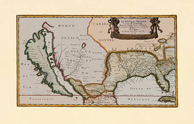 Photograph - Map Of America 1679 by Andrew Fare