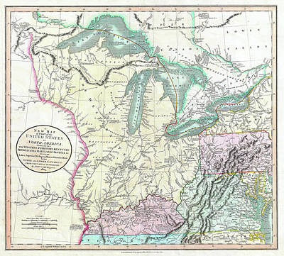 Drawing - Map Of American Frontier And Great Lakes 1805 by Mountain Dreams
